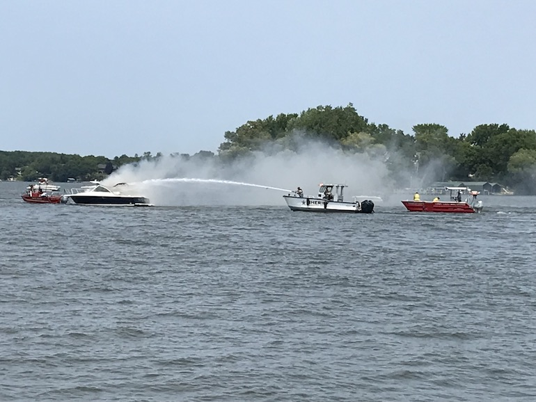 On 3 July 2021, this Lake Assault Boats patrol and rescue vessel quickly extinguished a fire on Minnesota's Lake Minnetonka, Hennepin County's largest and busiest body of water. There were no injuries reported.