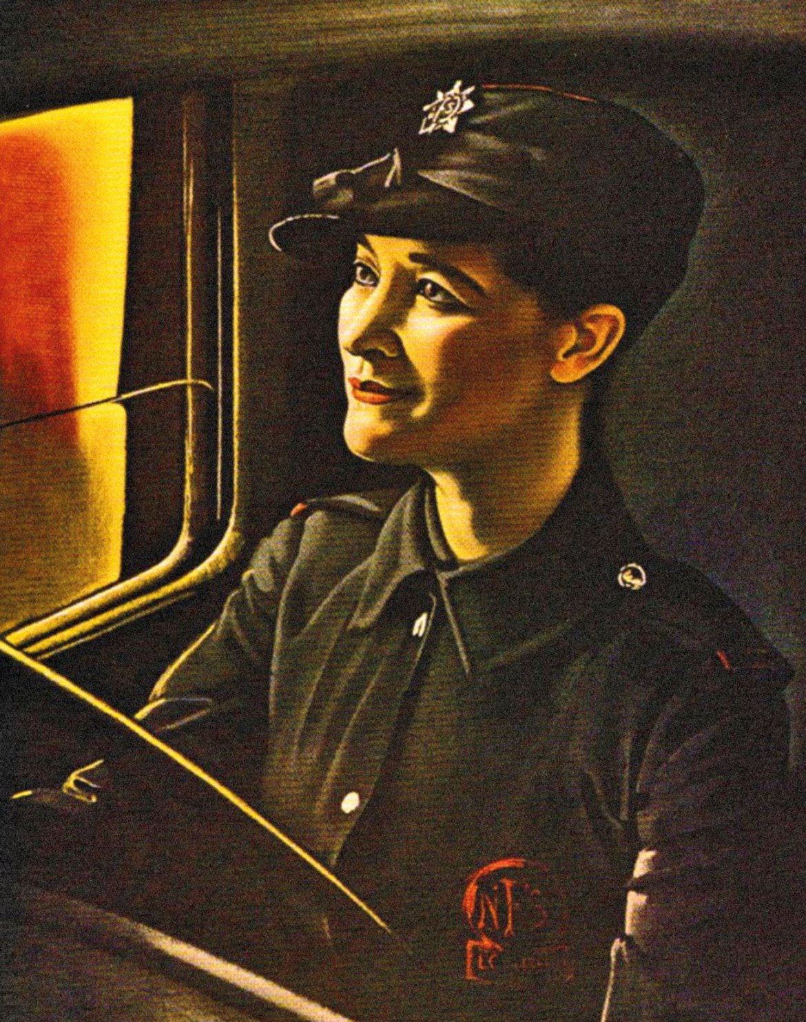 This painting shows an NFS firewoman driver. Initially recruited for admin and work in control centres, during the height of air raid attacks, firewomen drove flatbed petrol carriers out to refuel pumps operating in the streets, and manned mobile canteen units.