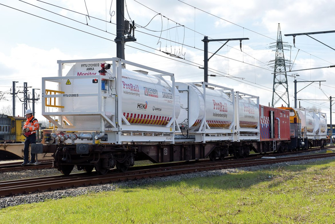 Fire train, remotely controlled by train operator.