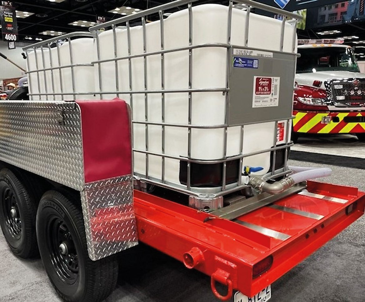 Firefighting foam tote trailers are large-capacity storage on wheels. They are designed to move to incidents in response to mutual-aid requests. The containers range from 250 to 3,000 gallons. States are now dealing with the collection and disposal of toxic PFAS containing foams in tote trailers as well as the 5-gallon pails throughout the US.