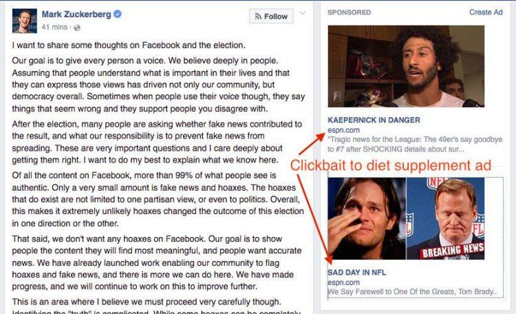 Fake news ads next to Zuckerberg post about fake news