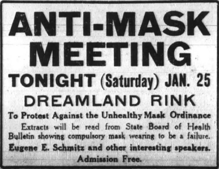 Ad for an Anti-Mask Meeting, 'to protect against the Unhealthy Mask Ordinance' (San Francisco Chronicle ad, 1919-01-25)