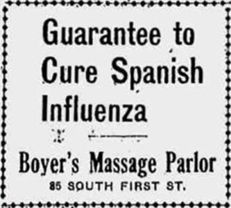 1918 Flu Ad: Guarantee to Cure Influenza, Boyer's Massage Parlor