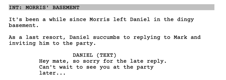 Text format in a screenplay