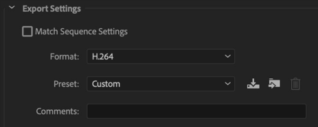 Export settings for Adobe Premiere Pro