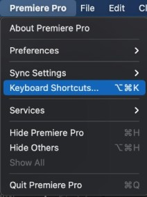 How to create a keyboard shortcut in Premiere Pro