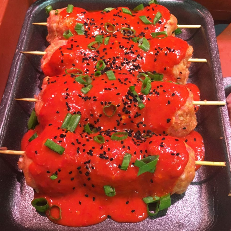 Thai Style Sweet Chilli Pork Skewers using Bangkok and Sriracha Style Sauce, on display at Williams and Sons Butchers in Wadebridge
