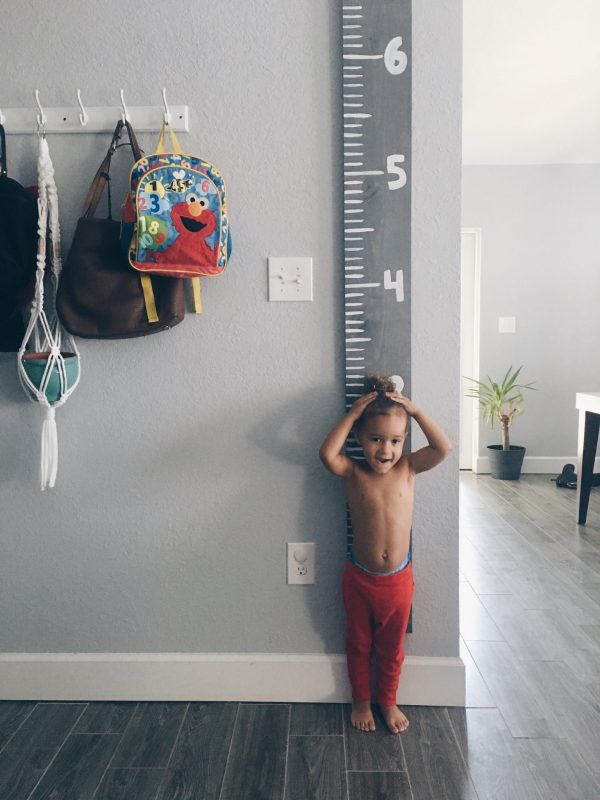 DIY wooden growth chart