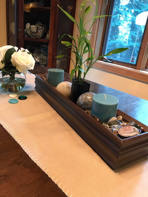 Trash to treasure project: decorative tray made of leftover wood trim.