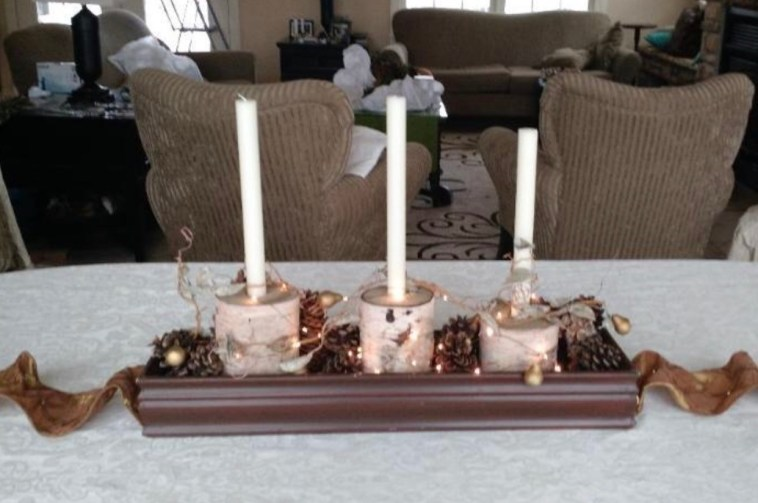 Table centerpiece with birch log candle holders