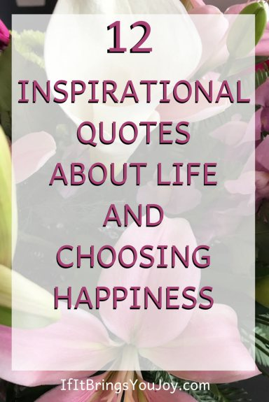 Inspirational quotes about life and choosing happiness. Each of us has the power to become a more positive thinker and bring more joy to our own lives and to the lives of others. #inspirational #quotes #happiness #life