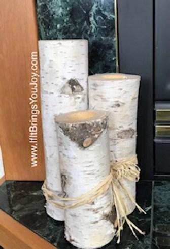 Birch logs on a fireplace hearth