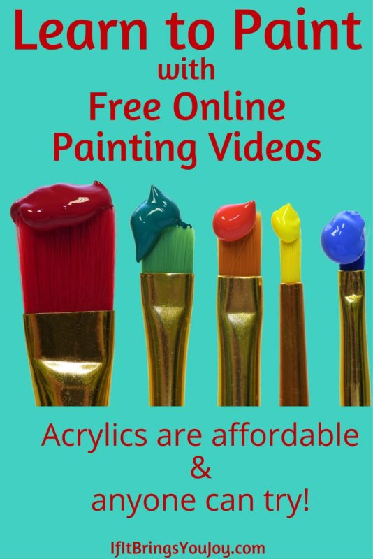 Personal story of learning to paint using online painting videos. A YouTube video series of an art teacher offering free online acrylic painting tutorials.