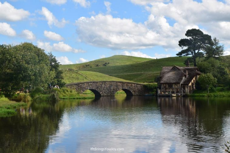 Double arched bridge in Hobbiton, New Zealand
