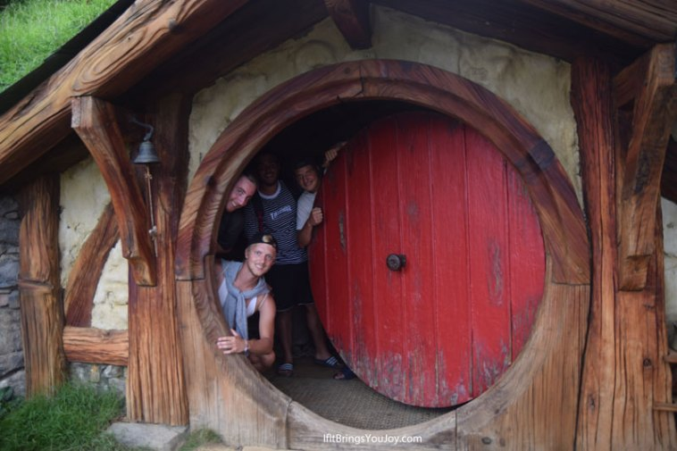 Travel mates having fun at Hobbiton movie set