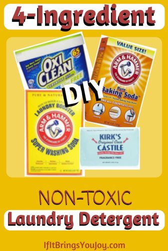 Better and cheaper than store bought detergent! Skin can absorb chemicals used in laundry detergent from residue left on clothing. Feel confident that your health is safe with this 4-ingredient DIY non-toxic laundry detergent. #nontoxic #laundrydetergent #DIY