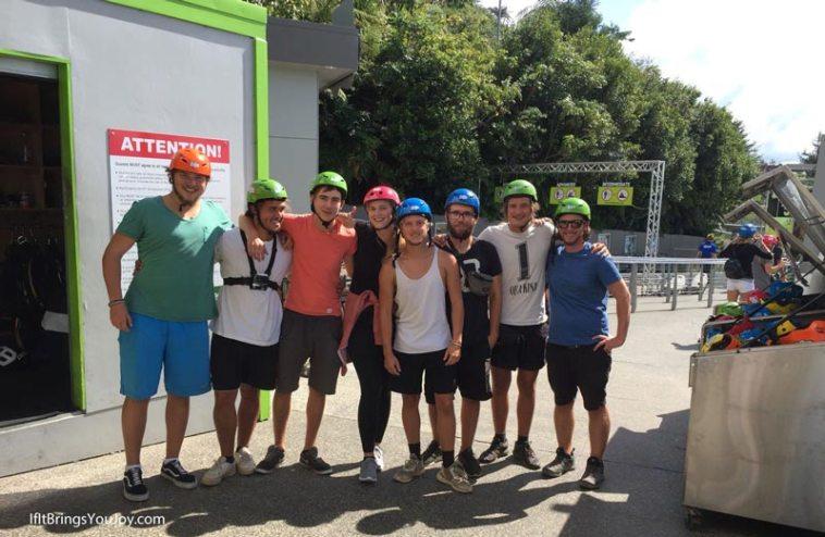 Travel mates in zipline gear in Rotorua, New Zealand