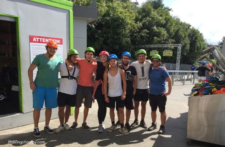 Travel mates in zipline gear in Rotorua, New Zealand
