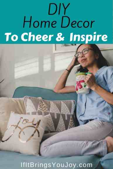 Woman in home with inspirational decor