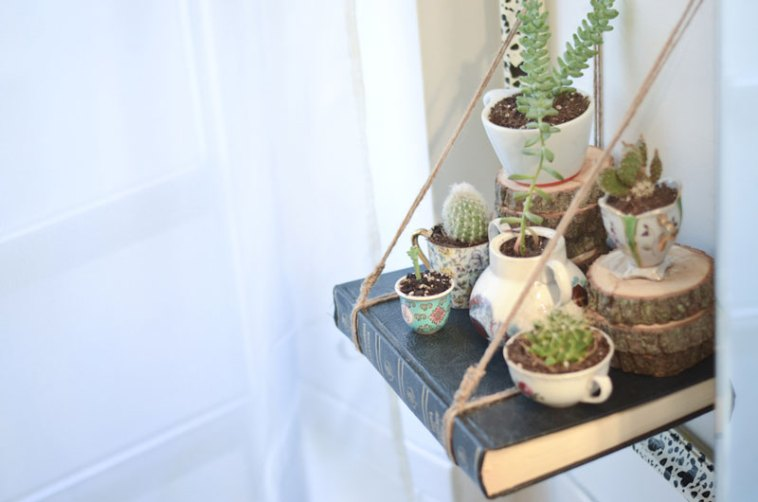 Tea cup garden on DIY book shelf