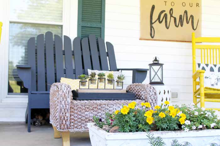 Vintage farmhouse decor on the porch