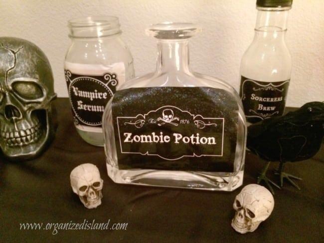Scary bottles for Halloween home decor