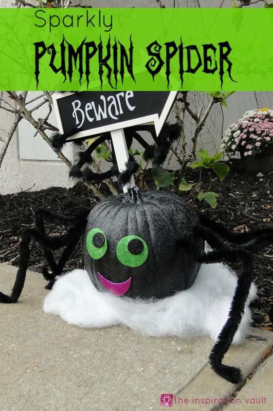 Sparkly pumpkin spider home decor