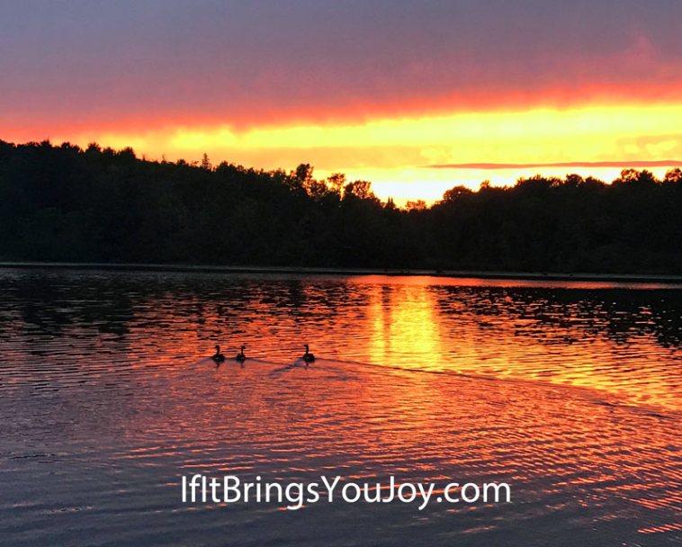Enjoying a gorgeous sunset over the lake.