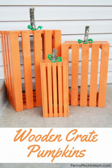 Wodden crate pumpkins on a porch