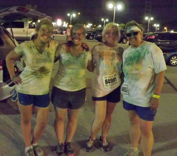 Mothers and daughters after doing a 5K challenge