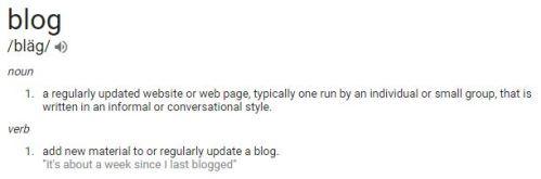Definition of the word blog.