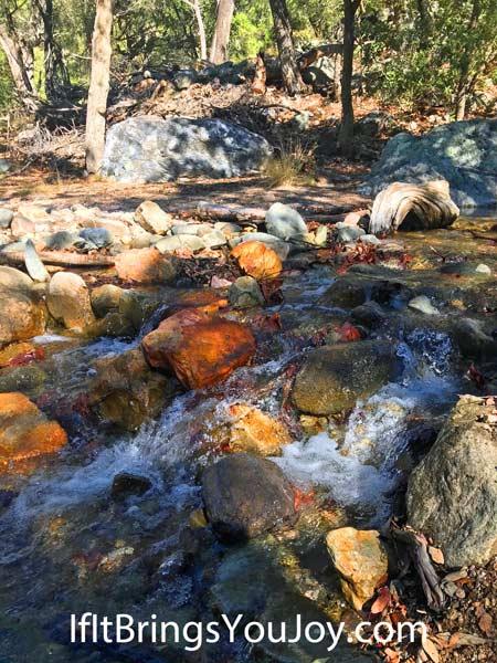 Water rolling through rocks brings joy
