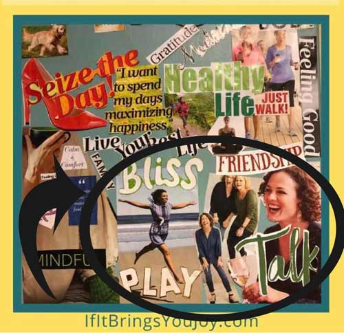 Vision board with playful activities