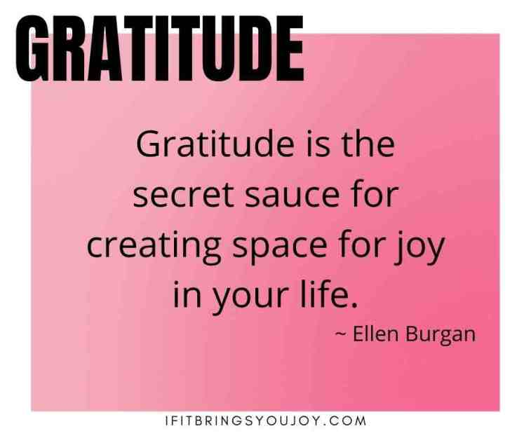 Quote by Ellen Burgan: Gratitude is the secret sauce for creating space for joy in your life.