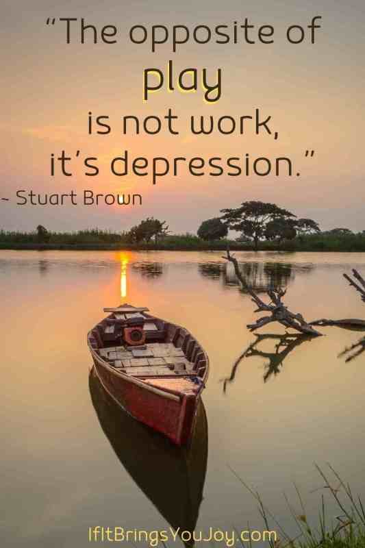 Serene view of boat in a lake with quote by Stuart Brown