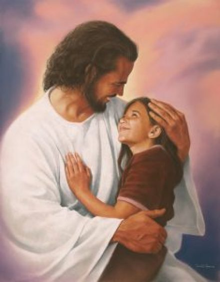 On Jesus' lap