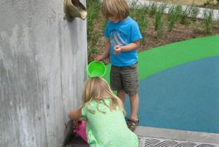 The interactive children's garden outside the Roseville Library engages, entertains and educates young visitors about sustainable stormwater management practices.