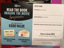 The IF List's sweepstakes for $500 to Barnes and Noble and AMC Theaters!