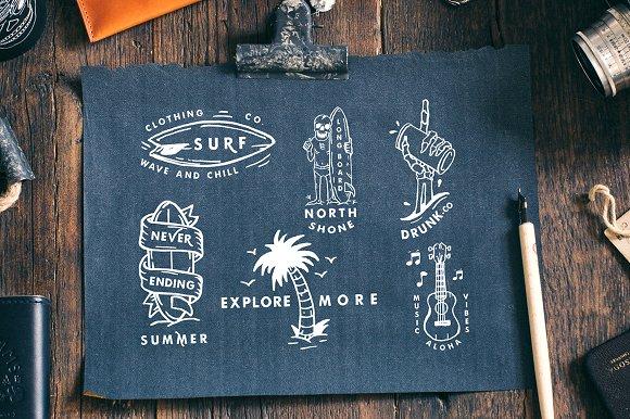Carbon Illustration, Badges And Font