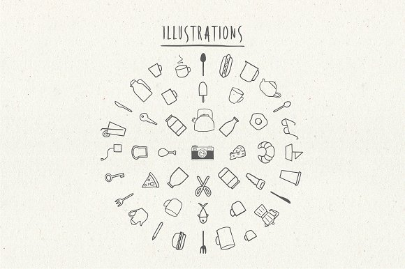 Hiatus Brush Font & Illustrations