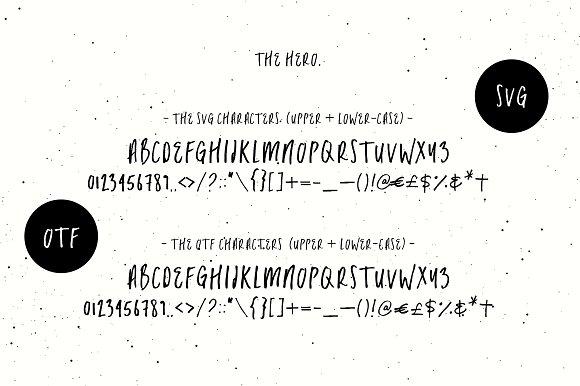 The Hero | SVG + OTF Script Font