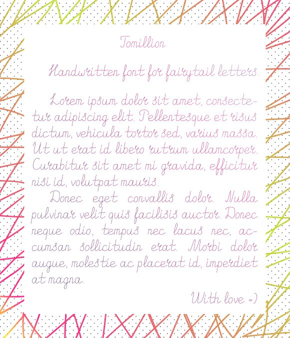 Tomillion. Handwritten font