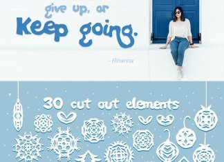 Paper snow Cut out font & extras Font