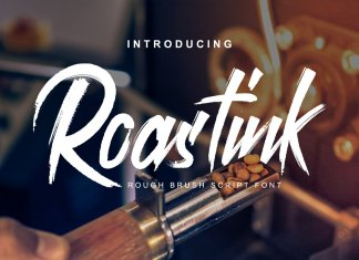 Roastink script rough brush font