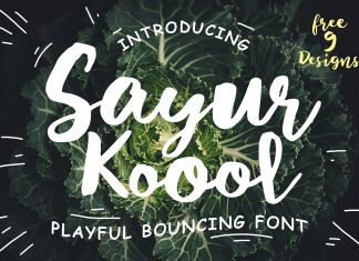 Sayur Koool and Bonus 9 Editable Designs Script Font