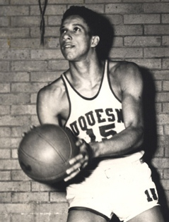 Courtesy of the Athletic Department Chuck Cooper scored a then-school record 990 points in four years at Duquesne. He became the first black player taken in the NBA draft in 1950 when the Celtics took him in the second round.