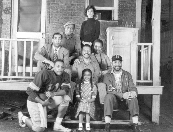 "Company photo of August Wilson's ""Fences"", Broadway's 46th St. Theatre, 1988 — with Vince Williams, Byron Minns, Ray Aranha, Billy Dee Williams, Tatyana Ali, Carol Shorenson Hayes Roscoe Orman and Lynn Thigpen."