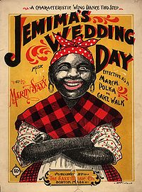 """Jemima"" character on 1899 cakewalk sheet music cover."