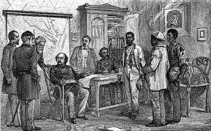 "This period print shows Maj. Gen. Benjamin F. Butler interviewing the three runaway slaves -- traditionally identified as Shepard Mallory, Frank Baker and James Townsend -- who sparked his landmark May 24, 1861 decision to give such slaves refuge as ""contraband of war."""