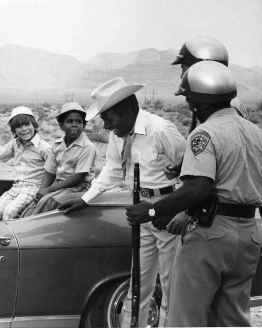 Co-star Michael Link and Marc with guest star Cleavon Little shooting in Vegas.